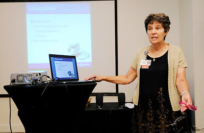 Don Knight | The Herald Bulletin Community Hospital diabetes educator and Alzheimer's Support Group leader Lori Keith gives a presentation to the Noon Exchange Club during their meeting Tuesday at the Edgewood Golf & Event Center.
