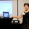 Don Knight | The Herald Bulletin<br /> Community Hospital diabetes educator and Alzheimer's Support Group leader Lori Keith gives a presentation to the Noon Exchange Club during their meeting Tuesday at the Edgewood Golf & Event Center.