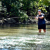 John P. Cleary | The Herald Bulletin<br /> With shallow, clear water flowing along Fall Creek Wednesday, John Canada decided the best way to fish the waters was to get in and walk his way upstream through Falls Park in Pendleton while casting along the way.