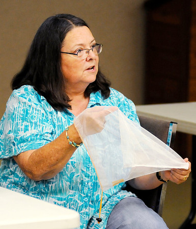Don Knight | The Herald Bulletin<br /> Advanced Indiana Master Naturalist Mary Powell purchased mesh produce bags from the internet to reduce plastic waste from grocery shopping.