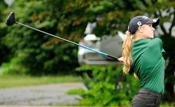 Don Knight | The Herald Bulletin<br /> Pendleton Heights' Danielle Tinsley watches her tee shot on the second hole during the Lapel Invitational at the Edgewood Golf Course on Saturday.