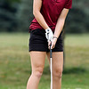 John P. Cleary | The Herald Bulletin<br /> Alexandria's Gracyn Hosier rolls her putt toward the hole on #3 during their match with Wes-Del and Frankton Monday at Yule Golf Club.