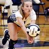 John P. Cleary | The Herald Bulletin<br /> Daleville's Sarah Sizemore dives to return the ball.