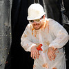 Don Knight | The Herald Bulletin<br /> A tomato hits Karl Lazar as part of a fundraiser during Soberfest at Dickmann Town Center park on Saturday.