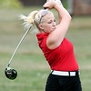 John P. Cleary | The Herald Bulletin<br /> Frankton's Sophia Chaplin rips her tee shot down the fairway during their match with Wes-Del and Alexandria at Yule Golf Club Monday.