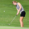 John P. Cleary | The Herald Bulletin<br /> Lapel's Lauren Lutz chips up onto the 17th green during their match with Daleville Wednesday.