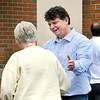 John P. Cleary |  THB File Photo <br /> Mike Phipps, republican candidate for County Commissioner middle district,  greets voters at Jackson 1 at Frankton-Lapel Schools during the primary elections in May 2016.