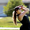 John P. Cleary | The Herald Bulletin<br /> Daleville's Emma Allen tees off on hole #14 during their match with Lapel at Edgewood Golf Club Wednesday.