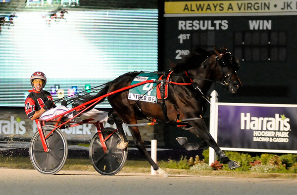 Don Knight | The Herald Bulletin<br /> Lather Up driven by Montrell Teague wins the Dan Patch Stakes at Harrah's Hoosier Park on Friday.