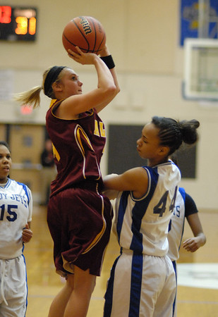 Peyton Quinn takes a two point jump shot for Alexandria.