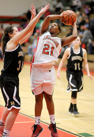 Anderson's Da'Sha Boyd shoots as the Indians hosted Noblesville on Thursday.