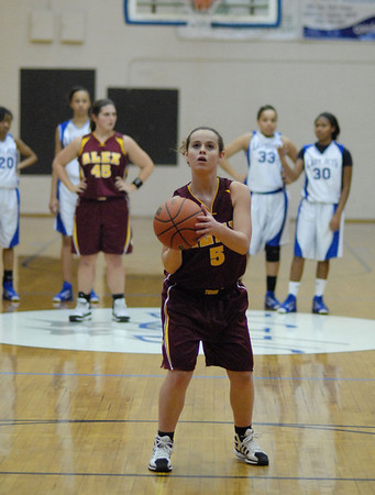 Alexandria junior Courtney Skinner shoots a freethrow after a technical foul was called on the Lady Jets. Anderson Preparatory Academy had two technical fouls during the second half of the game.
