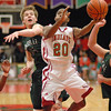 Anderson senior Jalen Beard takes a left handed shot from the foul lane during the Indians home game against Zionsville.