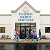 Employees of Unified Group Services get their 30 minute walk in around the building the southeast side business.  Unified Group Services pays their employees to walk 3 days a week, 30 minutes at a time, to keep fit in the workplace.
