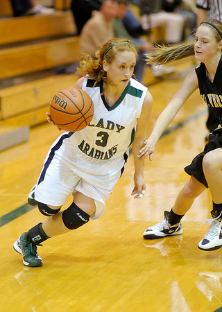 Pendleton Heights' Meghan Dawson drives as the Arabians hosted Mt. Vernon on Saturday.
