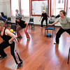 Instructor Angie Smith leads the Silver Sneakers fitness class through their exercises at the Anderson YMCA.