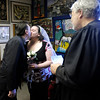Brandon Troutman and Amanda Bleckman kiss after being married by Judge Thomas Newman Jr. on Wednesday.