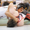 Anderson's Sean Warner and Frankton's Ian Pierce wrestle for the 220 pound championship during the Madison County Wrestling Tournament at Pendleton Heights on Saturday. Warner won by decision.