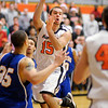 Anderson University's Isaac Loechle passes the ball as the Ravens hosted Spalding University on Wednesday.