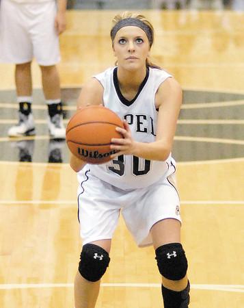 Lapel junior Mackenzie Boles keeps her eye on the basket during a first quarter free throw attempt