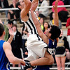 Daleville's James Tungate goes high over Southern Wells Davin Price during their game Friday evening.