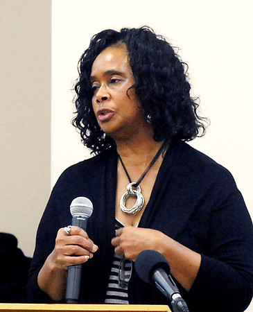 Judy Streeter, president of the Anderson chapter of Indiana Black Expo, addresses those gathered during a press conference on the State of the Black Youth Report Tuesday at the Madison County Community Health Center.