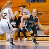 Pendleton Heights' Tiffany Wertz drives from the corner as she is guarded by Shenandoah's Micah Kimball as the Raiders hosted the Arabians on Friday.