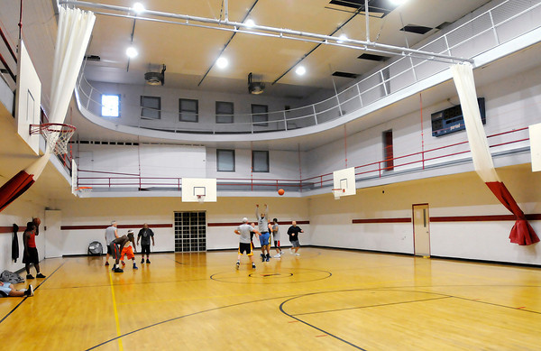 Don Knight / The Herald Bulletin<br /> The YMCA added a curtain to the gym as part of a remodel and upgrade.