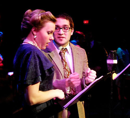 "THB photo/John P. Cleary<br /> Sally Applewhite (Savannah Treleven) and Jake Laurents (Josh Maldonado) go through their lines playing Mary and George Bailey during the live broadcast of ""It's a Wonderful Life"" on Christmas eve in 1949 at radio station WBFR.<br /> The Theatre at Anderson University with Wisdom Tooth Theatre present ""It's a Wonderful Life"" at AU's Byrum Hall starting Thursday."
