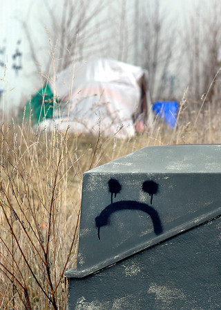THB photo/John P. Cleary<br /> Homeless camp behind Marshall's.