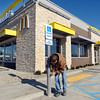 THB photo/John P. Cleary<br /> Jerry Sutton, of H & R Construction out of Monticello, Ind., cleans up minor imperfections  on the new McDonald's restaurant building at 2830 Broadway as they prepare to reopen This coming Tuesday morning.