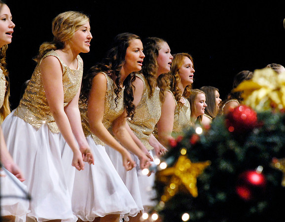 """THB photo/John P. Cleary<br /> The Lapel High School Concert Choir performs """"Christmas (Baby Please Come Home)""""  Monday evening during the Lapel High School Music Department's  annual holiday show, """"Celebrate Christmas.""""  The holiday concert included about 175 students with the school's Concert Band, Concert Choir, Jazz Band, and the Show Choir."""