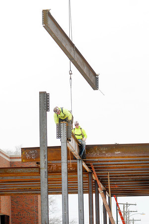 Don Knight / The Herald Bulletin<br /> Iron workers work on St.Vincent Anderson Regional Hospital's new Surgery Pavilion on Thursday. The new surgical facilities will replace the hospital's surgery department and the Surgery Center.
