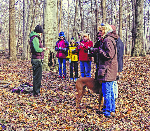"""Participants in Mounds Park's Winter Solstice Wander recite the poem """"Winter Solstice"""" by Jacqueline Nash, which celebrates the rebirth of the sun, while standing on the Winter Solstice Mound."""