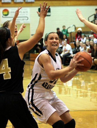 Photo by Chris Martin for THB<br /> Pendleton's Adrienne Phillips drives to the basket Saturday against Mount Vernon