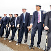 John P. Cleary | The Herald Bulletin  <br /> Officials from NTN Driveshaft, along with Mayor Kevin Smith and Gov. Mike Pence turn earth at NTN's groundbreaking Tuesday morning.