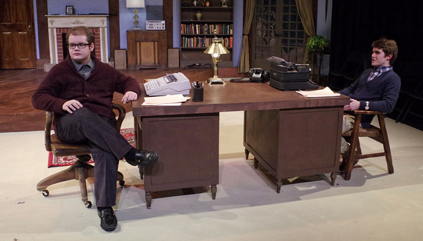 "Mark Maynard | for The Herald Bulletin<br /> Playwrite Sidney Bruhl (Isaac Derkatch) and his partner, Clifford Anderson (Sam Lynch), share a murderous secret in ""Deathtrap."""