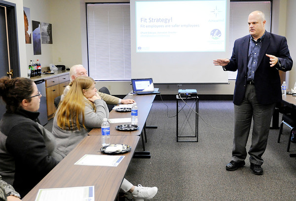 Don Knight | The Herald Bulletin<br /> Chuck Gillespie, executive director of the Wellness Council of Indiana, speaks to the Central Indiana Safety Council meeting at the Chamber of Commerce on Thursday.