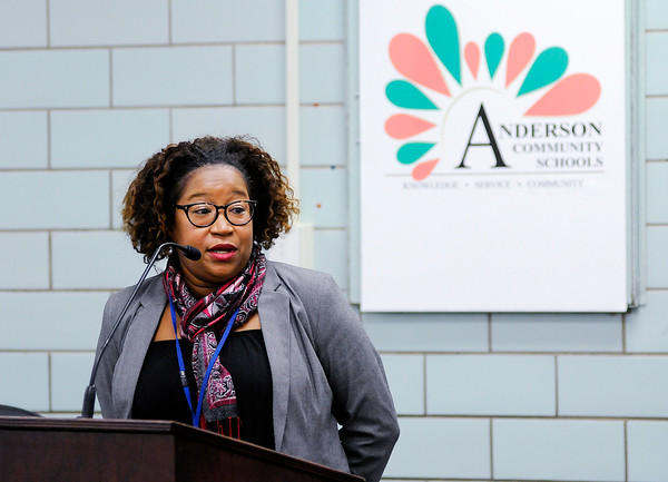 Don Knight | The Herald Bulletin<br /> Treva Bostic talks about the Office of Multicultural Education during the Anderson Community Schools school board meeting on Tuesday.