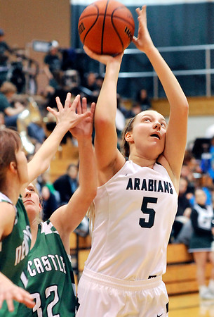 John P. Cleary |  The Herald Bulletin<br /> Pendleton's Ashley King pulls up in the lane for a short jumper.