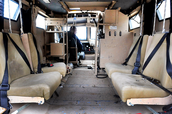 John P. Cleary |  The Herald Bulletin<br /> Pendleton Police Department received a MIne-Resistant Ambush Protected vehicle from Afghanistan. This is a look in the back of the MRAP.