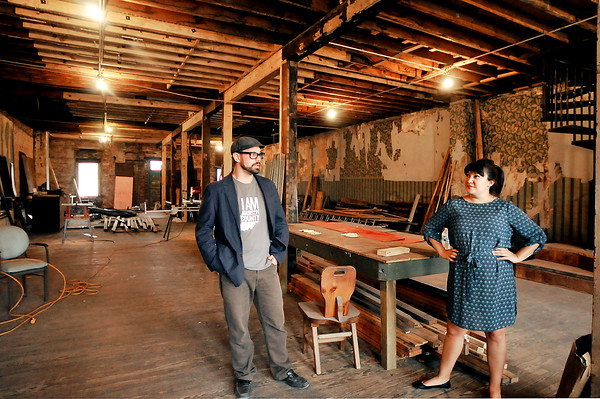 John P. Cleary | The Herald Bulletin<br /> The A Town Center being developed downtown Anderson by Levi Rinker and Sonia Caldwell. This is the stripped out second floor area they have to work with.