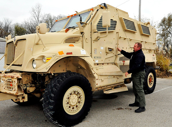 John P. Cleary |  The Herald Bulletin<br /> Pendleton Police Department received a Mine-Resistant Ambush Protected vehicle from Afghanistan. Here Chief Marc Farrer looks over the vehicle.
