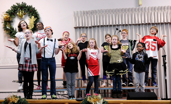 """Don Knight   The Herald Bulletin<br /> Kids at Frankton Christian Church run through a rehearsal of  """"Christmas County Spelling Bee"""" on Thursday. The musical will be performed at the church Sunday at 10:30 a.m."""
