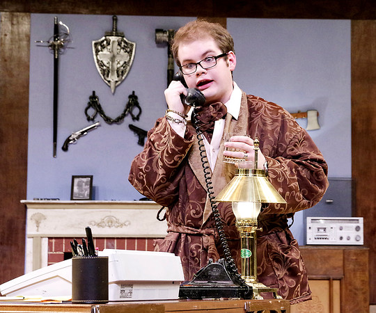 "Mark Maynard | for The Herald Bulletin<br /> Isaac Derkatch is once-successful murder-mystery playwrite Sidney Bruhl in ""Deathtrap."""
