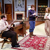 "Mark Maynard | for The Herald Bulletin<br /> Sidney Bruhl (Issaac Derkatch), Clifford Anderson (Sam Lynch) and Myra Bruhl (Juli Biagi) discuss Clifford's script for his play titled ""Deathtrap."""