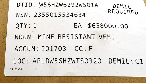 John P. Cleary |  The Herald Bulletin<br /> Pendleton Police Department received a Mine-Resistant Ambush Protected vehicle from Afghanistan. This is the ID plate on the side of the vehicle.