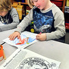 John P. Cleary |  The Herald Bulletin<br /> Lapel Elementary pre-schooler Landon Shown, 5, works at coloring Indiana's State bird, the Cardinal, as students, with help from 4th grade students, celebrate Indiana's Bicentennial this past week.