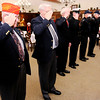 Don Knight | The Herald Bulletin<br /> From left, veterans J.R. Rosencrans, Max Maupin, Joe Hanshew, Don Platt, Robert Jones and Al Lind salute wreaths placed during the Wreaths Across America remembrance service at the Loose Funeral Home on Saturday.
