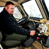 John P. Cleary |  The Herald Bulletin<br /> Pendleton Police Department chief Marc Farrer checks the controls for the  Mine-Resistant Ambush Protected vehicle from Afghanistan that the department has received.